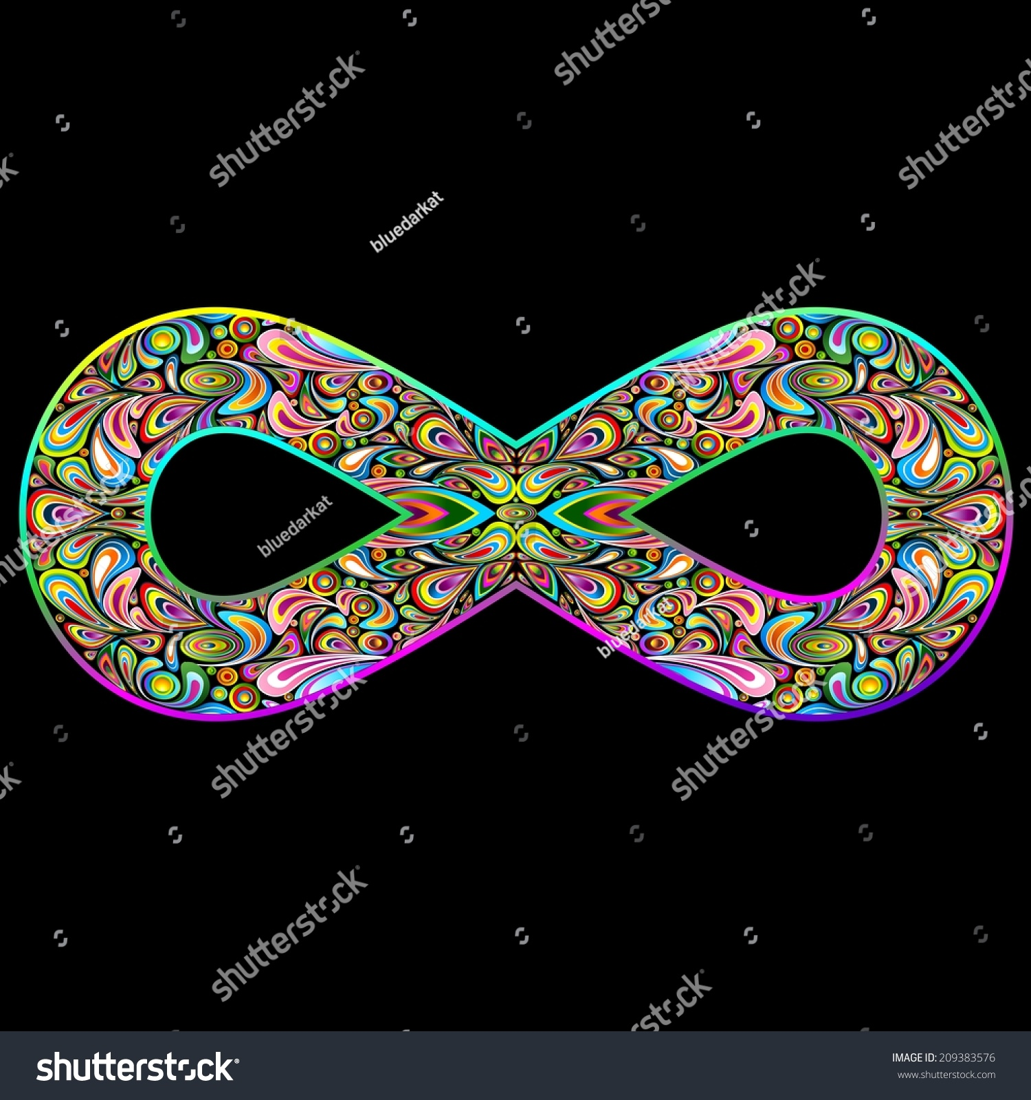 Infinity Psychedelic Symbol On Black Stock Vector Royalty Free