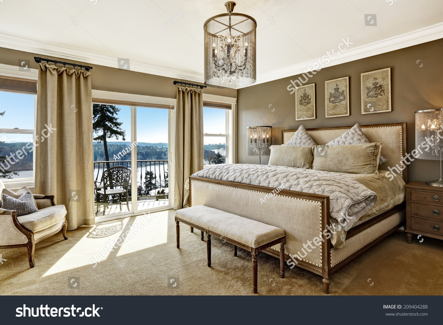 Luxury bedroom interior with rich furniture and scenic view from walkout deck stock photo - Image bed room ...