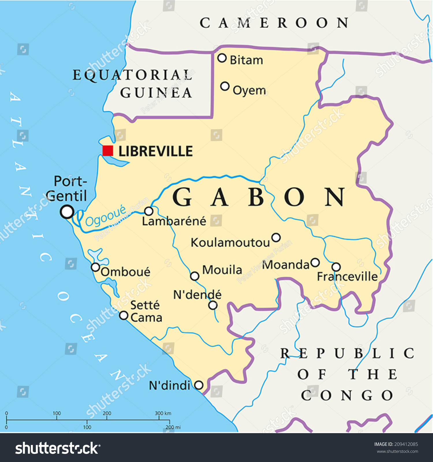 Gabon Political Map Capital Libreville National Stock Vector - Gabon map