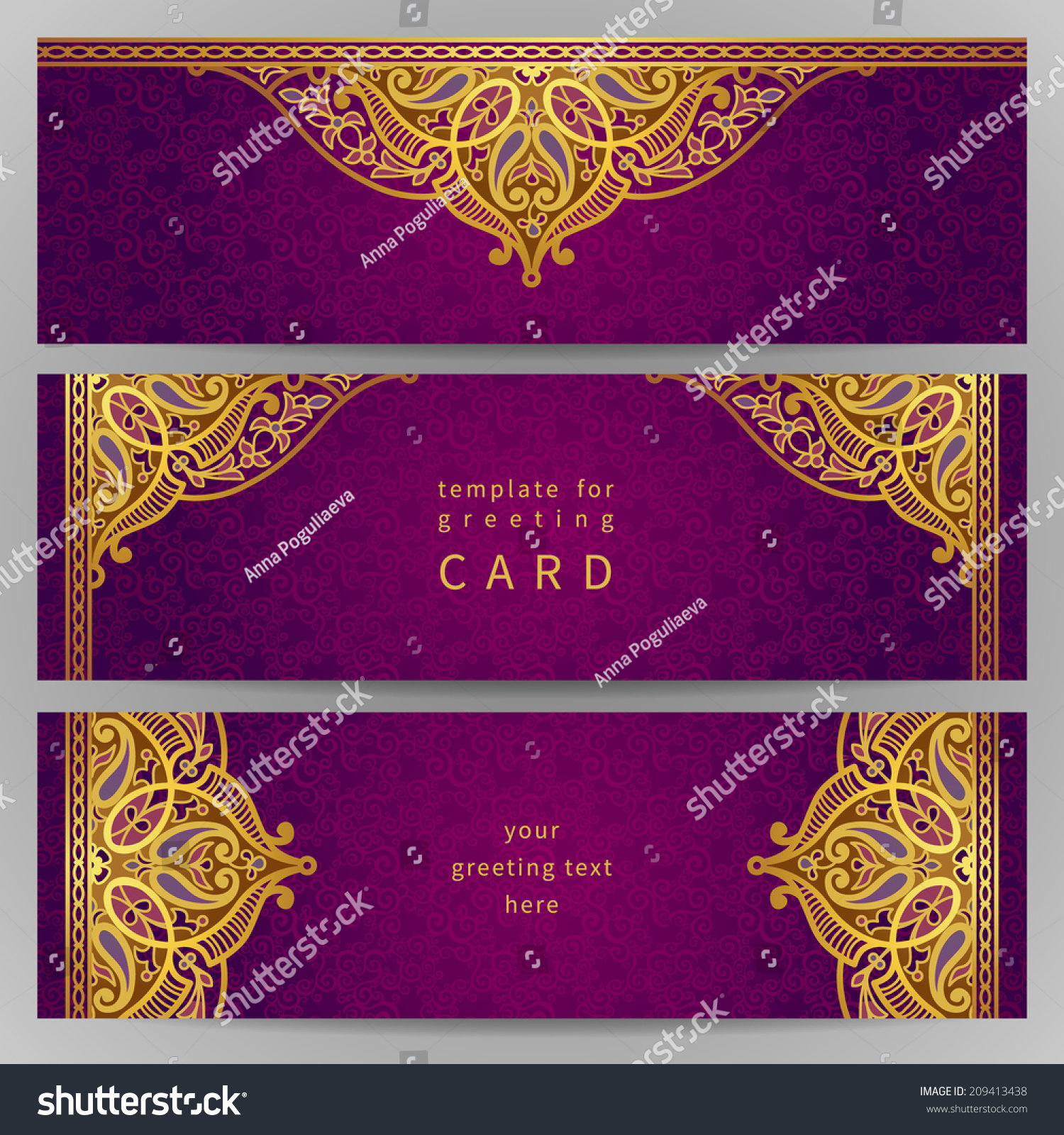 royalty free vintage ornate cards in oriental style 209413438