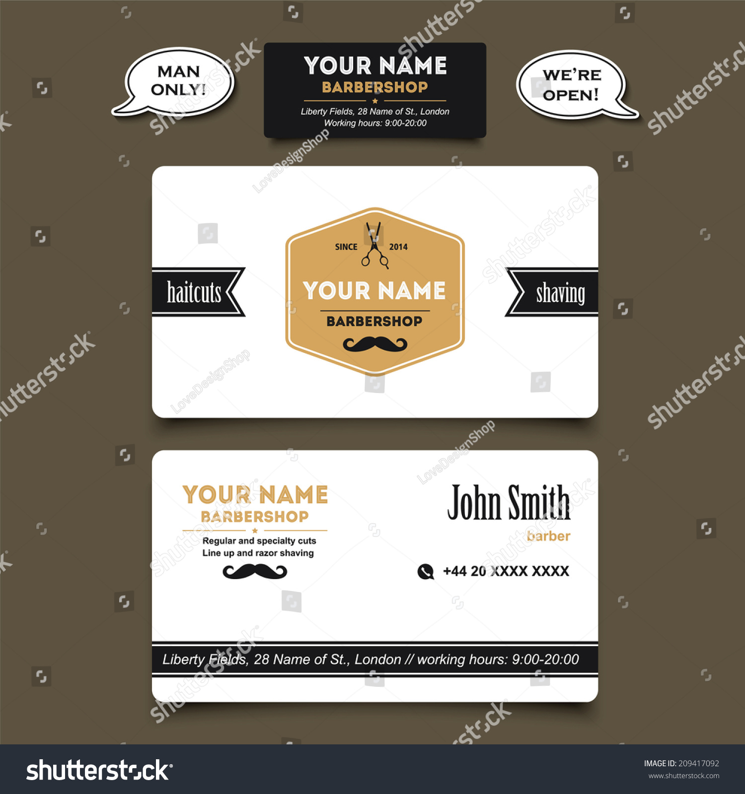 Hair salon barber shop business card stock vector 2018 209417092 hair salon barber shop business card design vector template wajeb Image collections