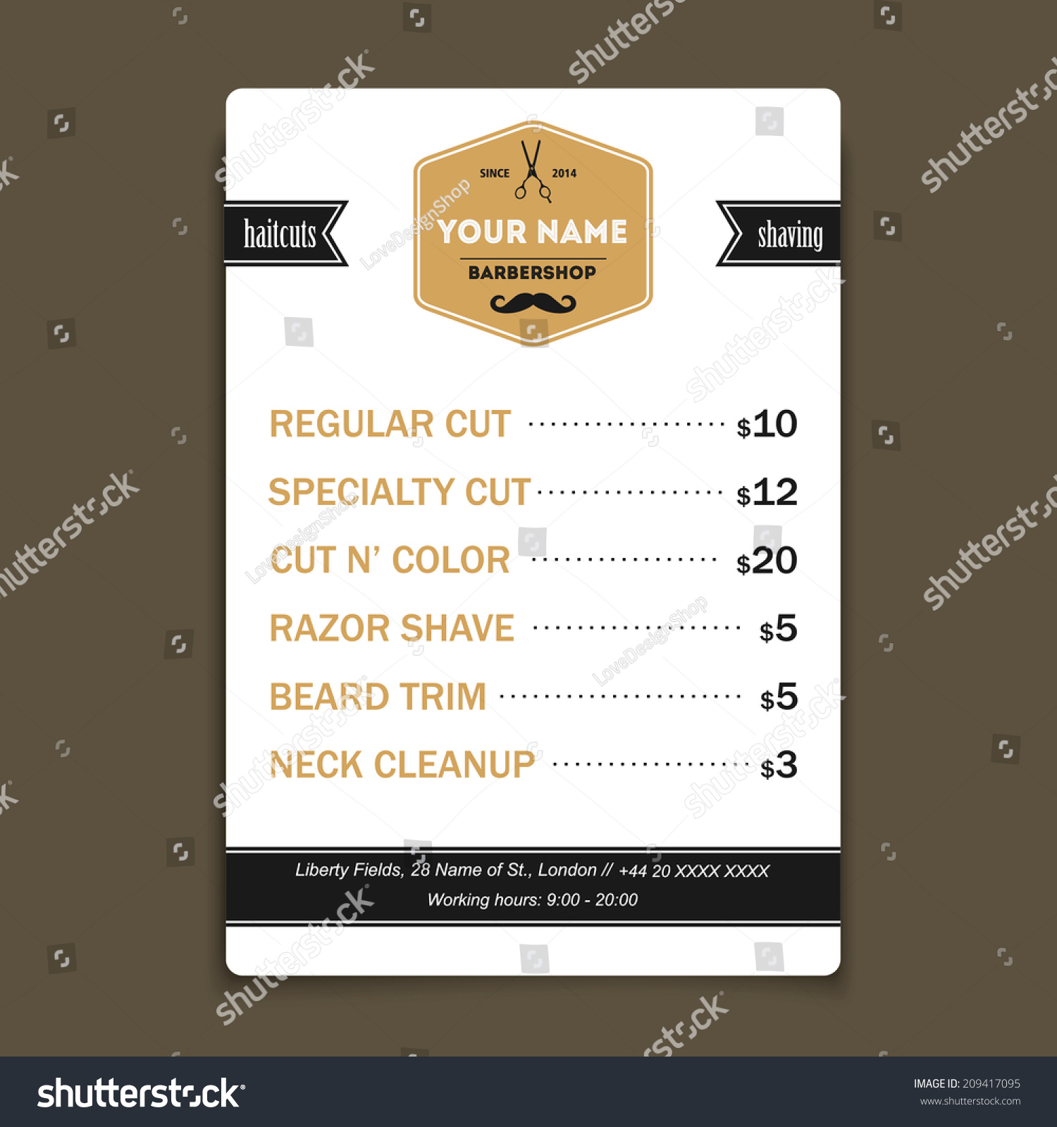 barber shop vintage offer list template stock vector
