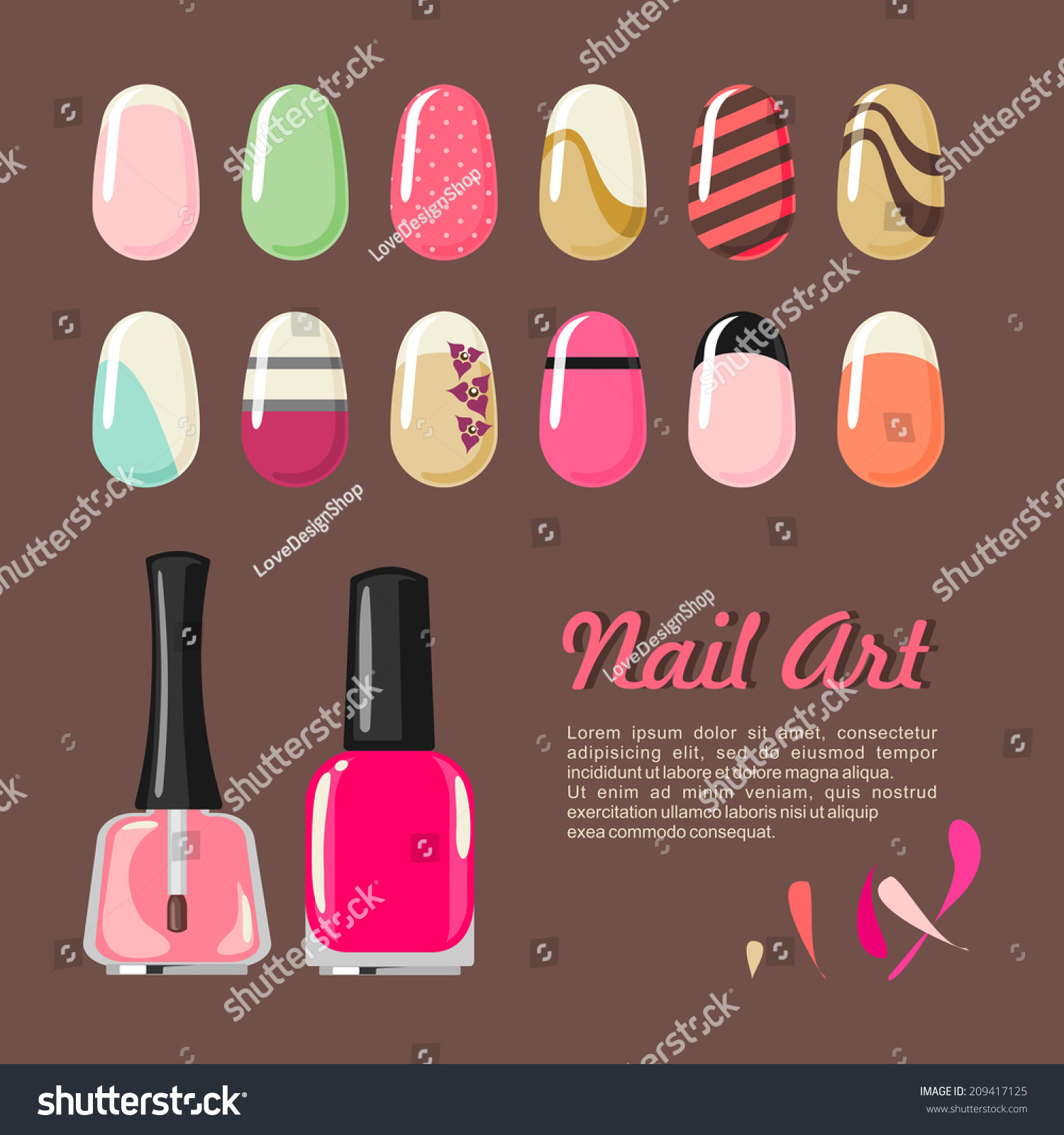 Nail Art Vector: Nails Art Templates Polish Bottle Manicure Stock Vector
