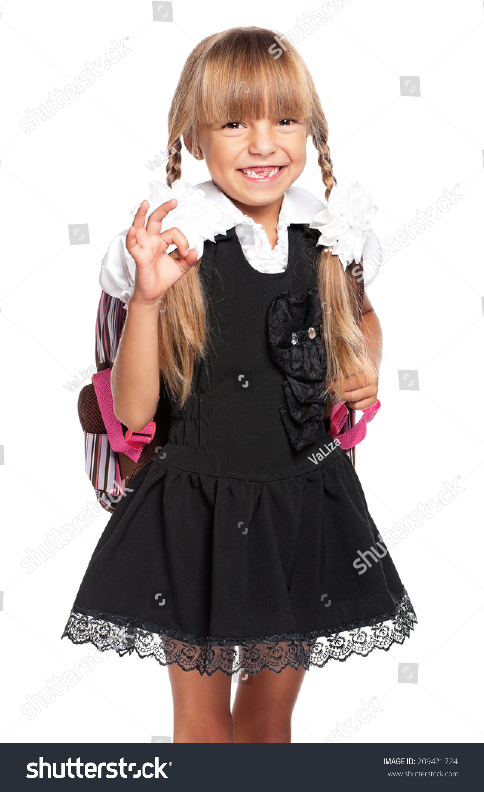 6f7f430d67af Happy Little Girl School Uniform Isolated Stock Photo (Edit Now ...