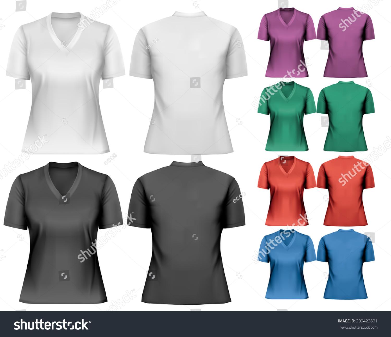 Design shirt v neck - Female V Neck T Shirts Design Template Vector