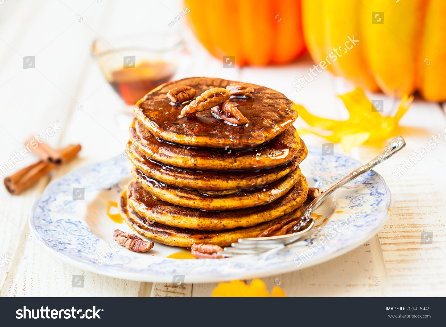 Spiced Pumpkin Pancakes With Maple Syrup And Pecan Stock ...