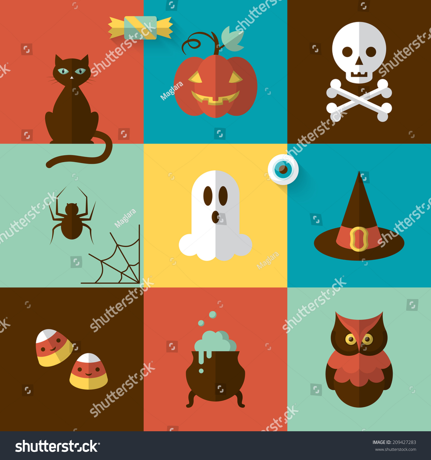 halloween holiday modern design flat icons stock vector (royalty