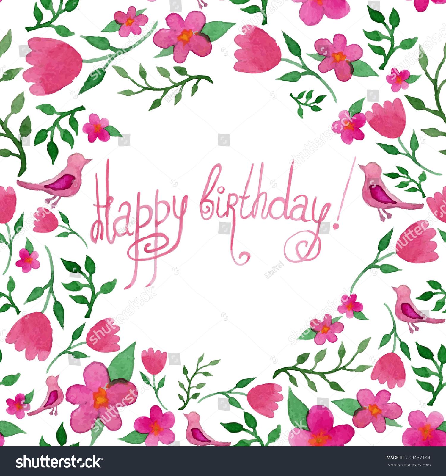 Watercolor Happy Birthday Card Flowers Birds Stock Illustration