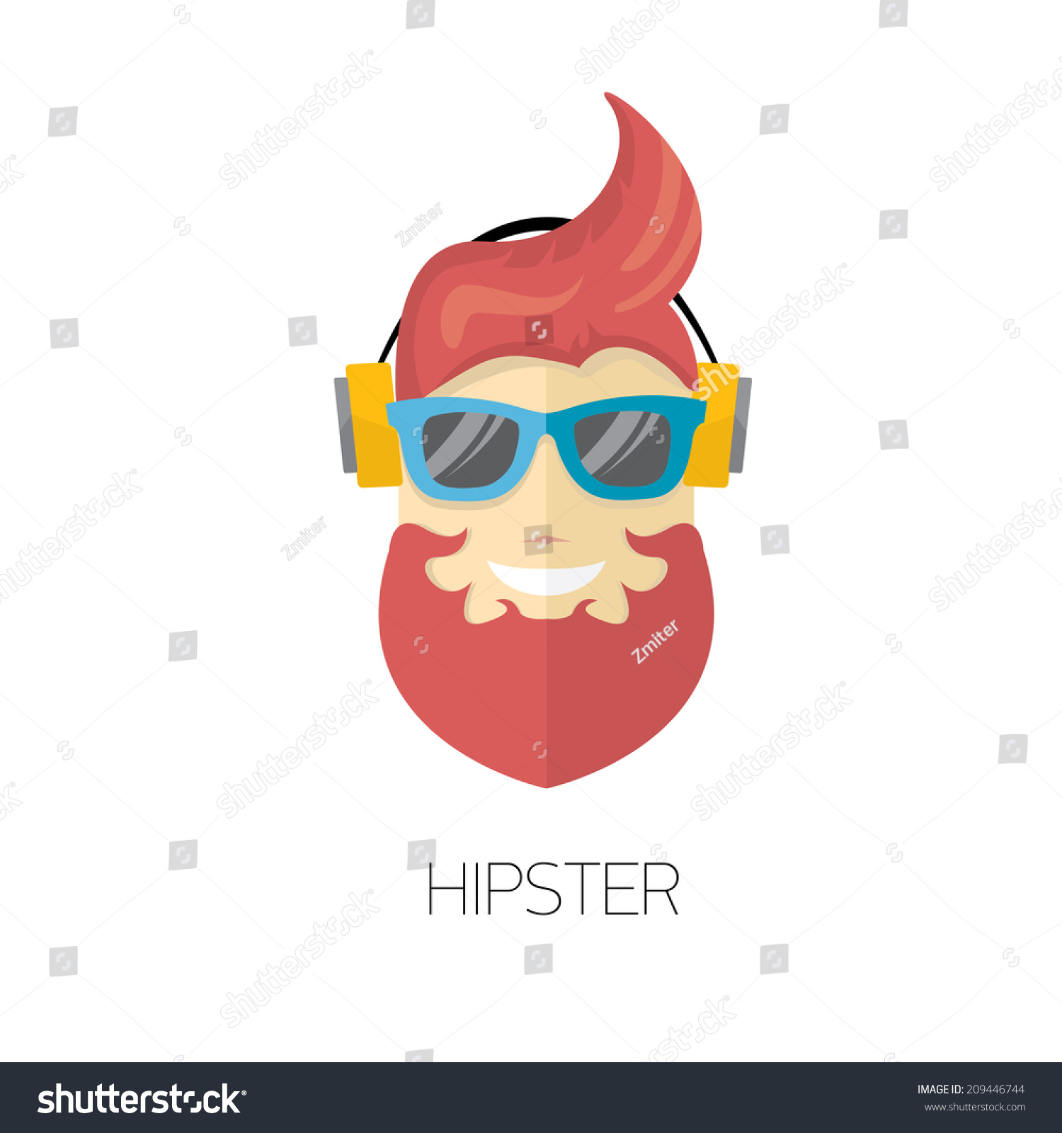 Hipster Man Icon Fashion Silhouette Hipster Stock Vector