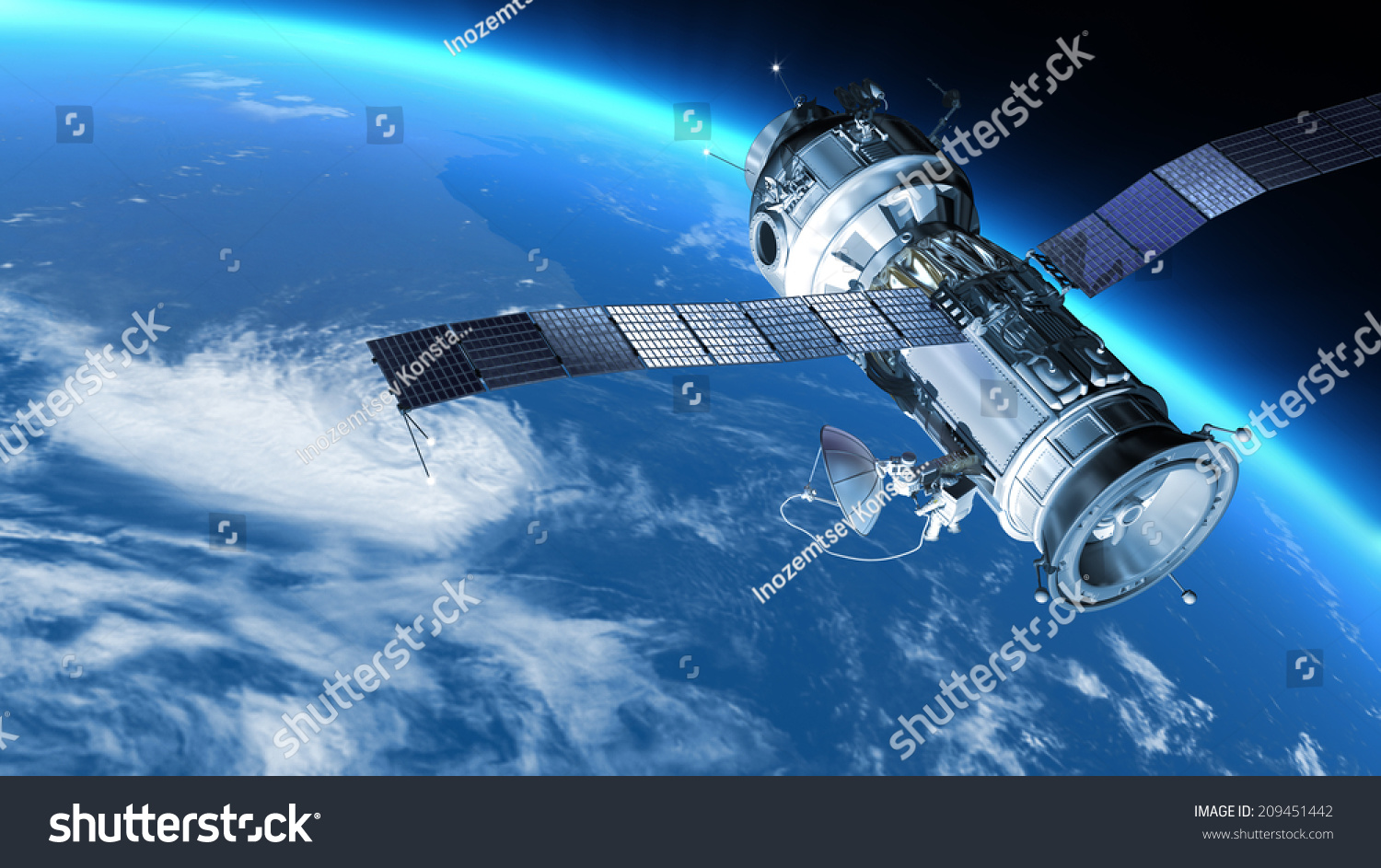 Space Station Travels Orbit Around Earth Stock ...