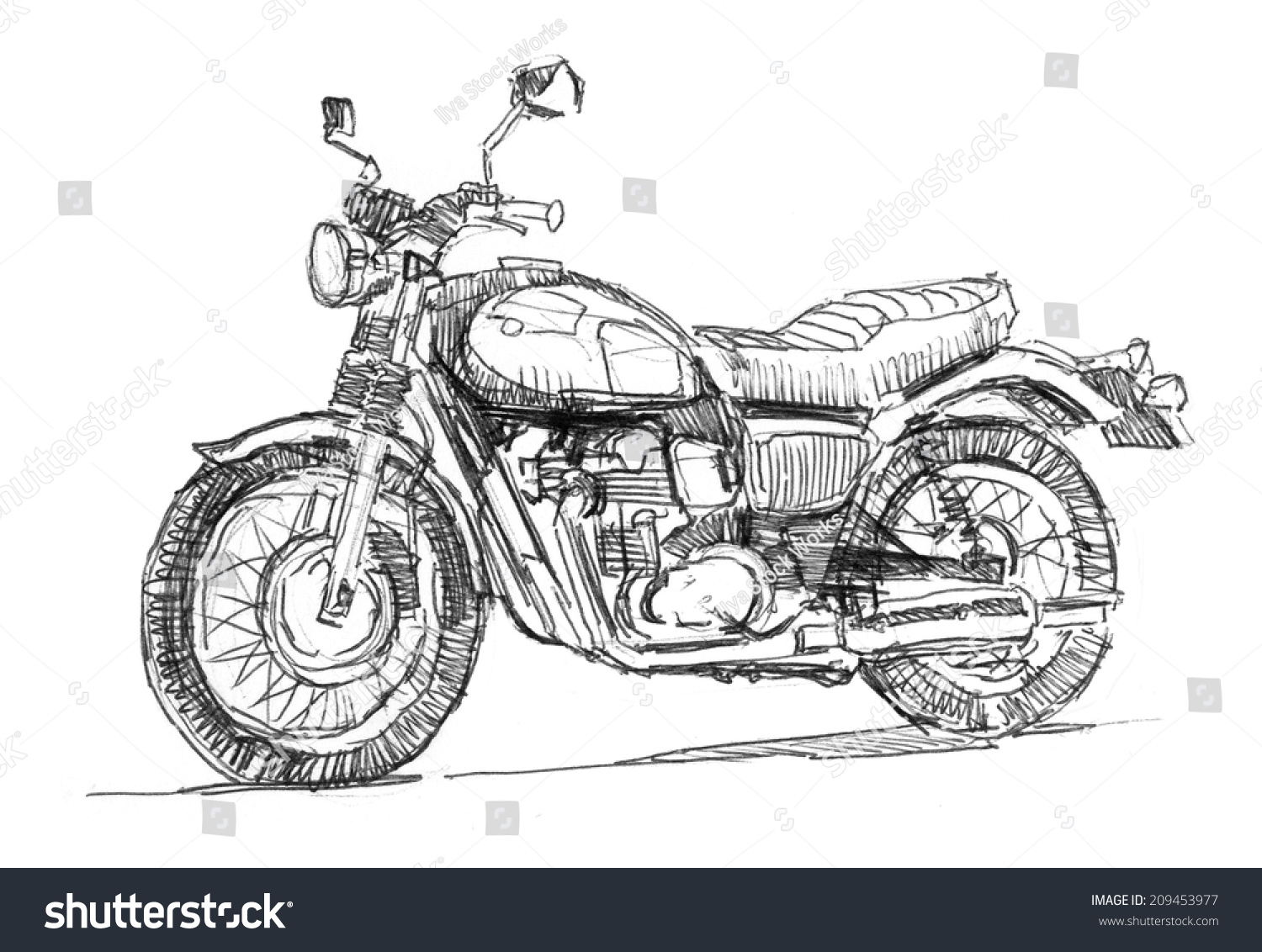 Notebook And Pen Sketch Stock Vector Art More Images Of: Classic Motorcycle Pen Sketch Drawing Isolated Stock