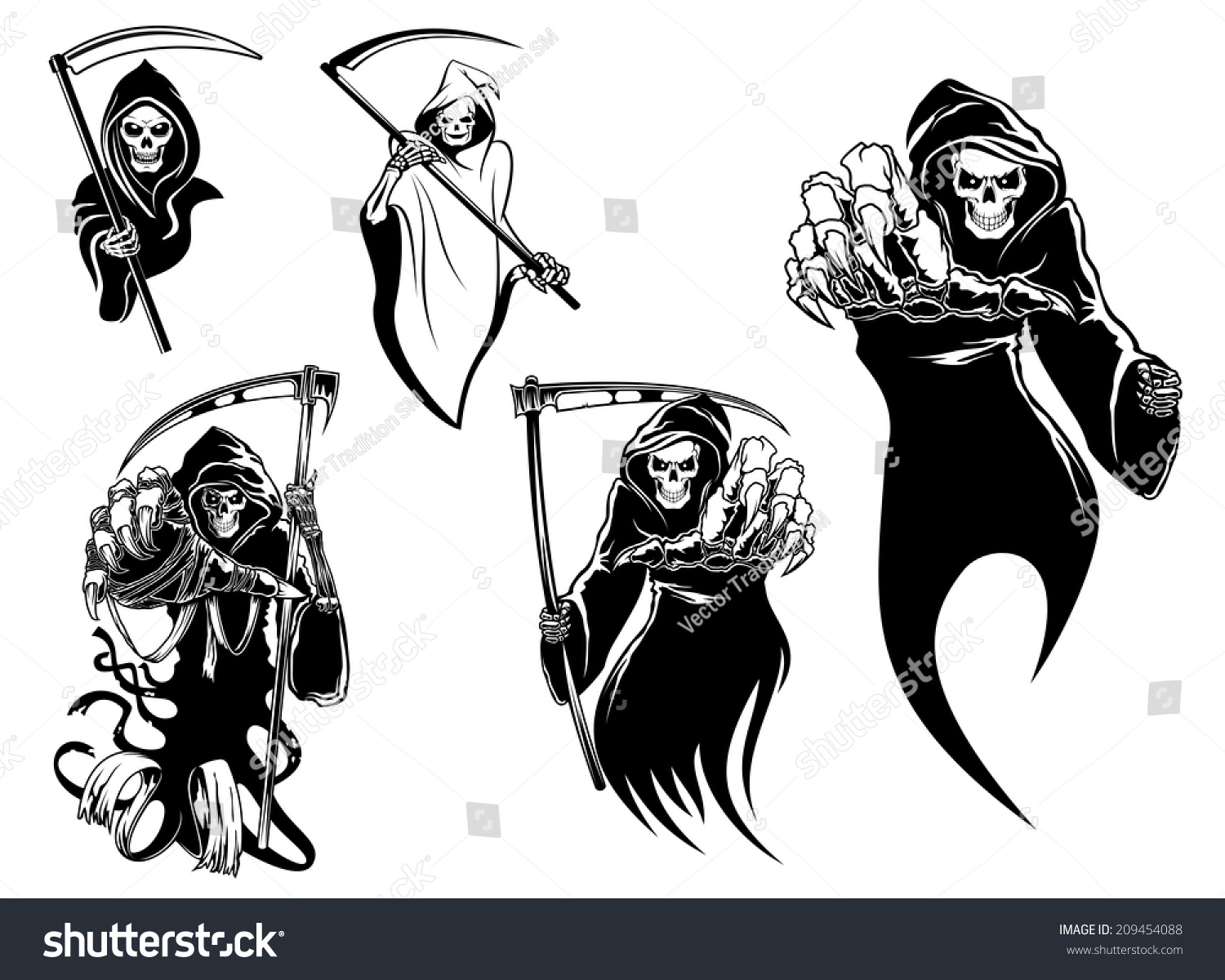 Death Skeleton Characters Without Scythe Suitable Stock Vektorgrafik