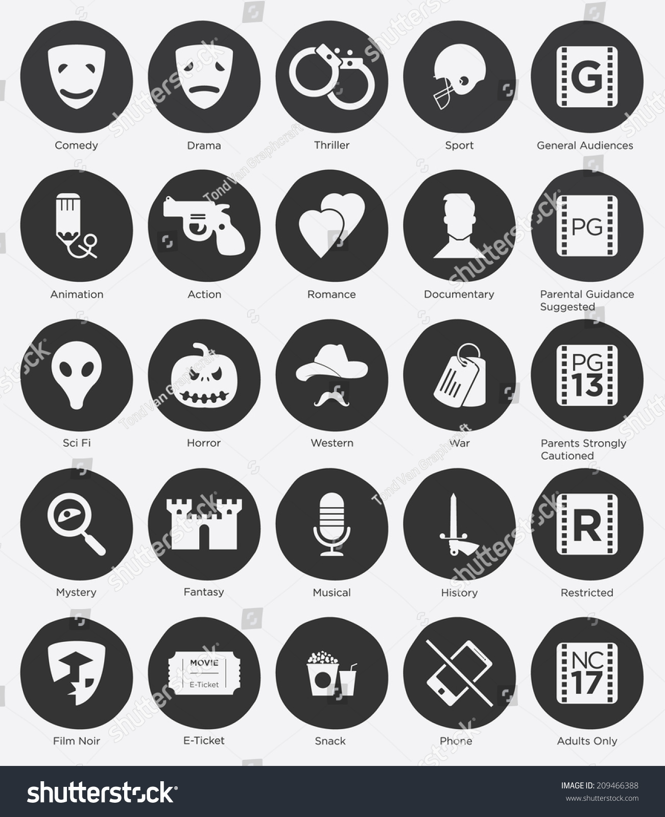 set film genres icon film rating stock vector 209466388