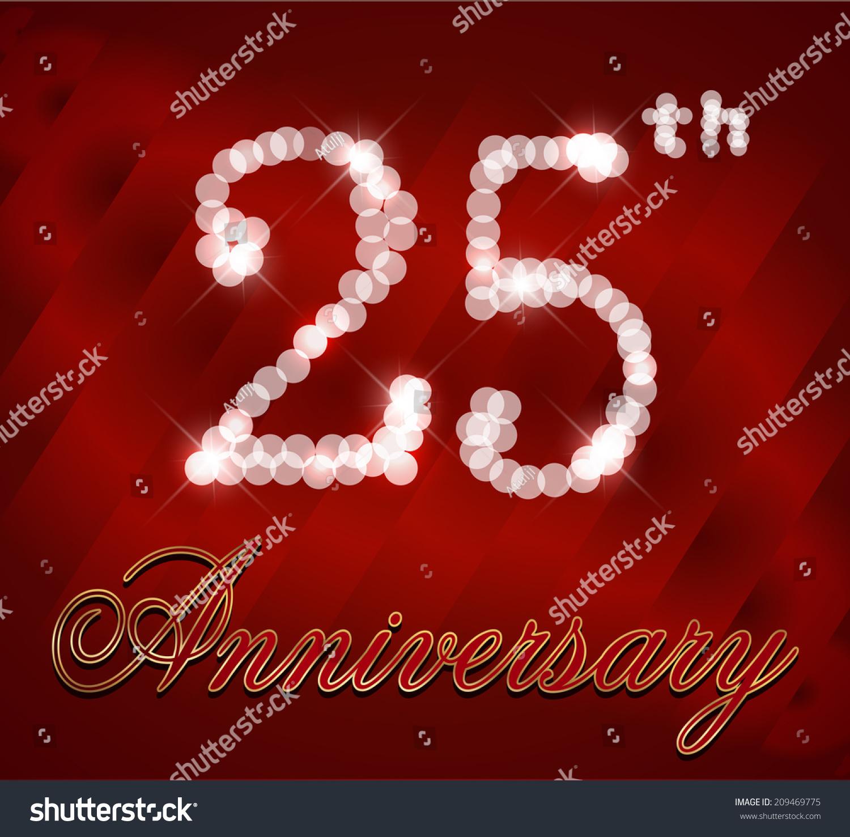 25 Year Happy Birthday Card 25th Stock Vector (Royalty Free ...
