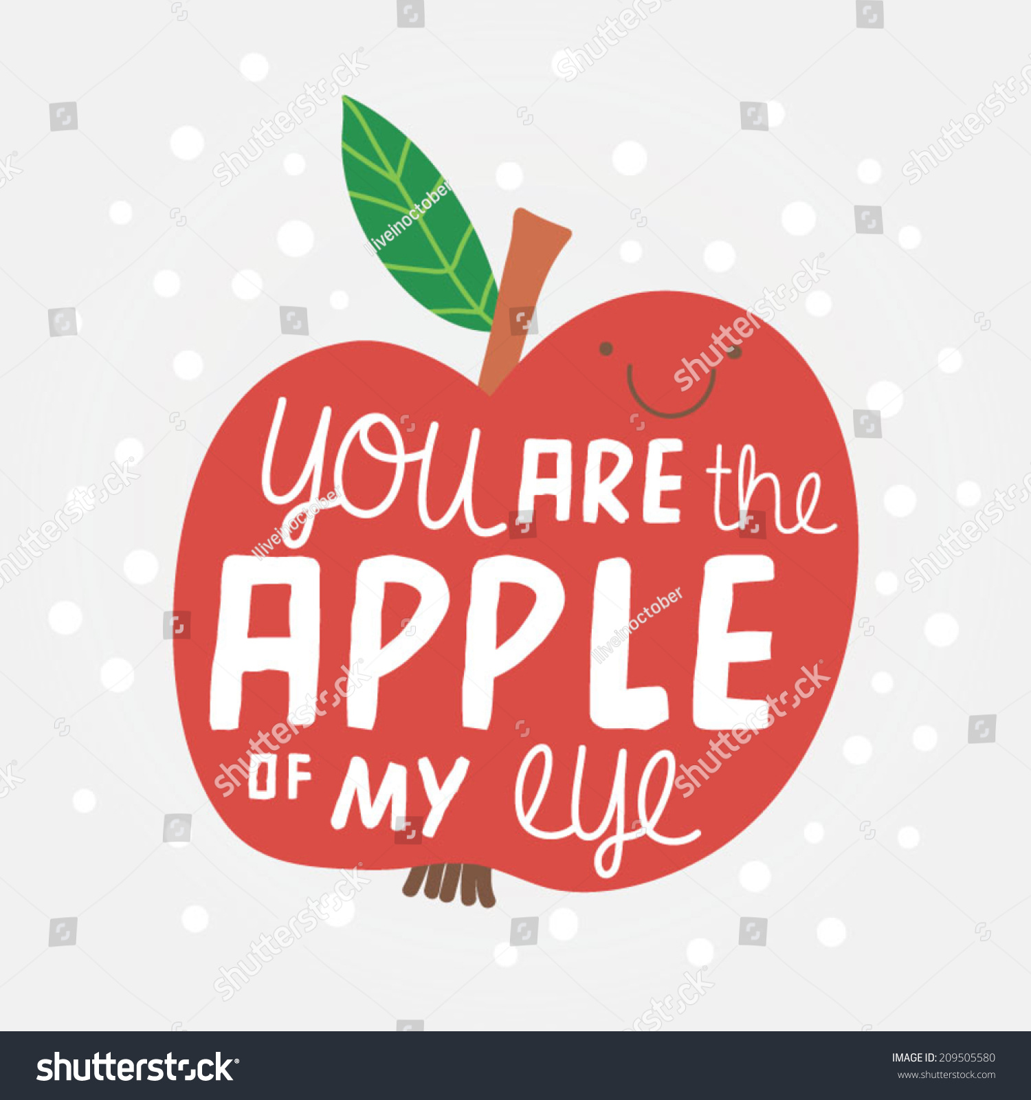 Cute Illustration Apple Concept Background You Stock
