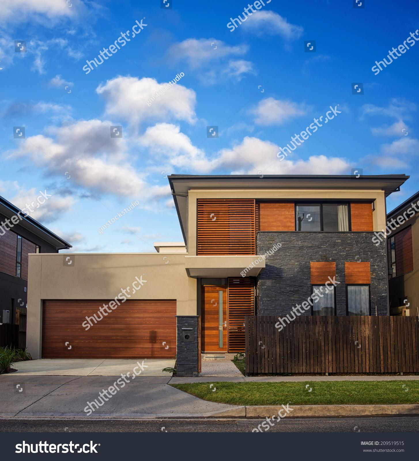 Typical Australian House: Typical Australian Modern House Closeup Stock Photo