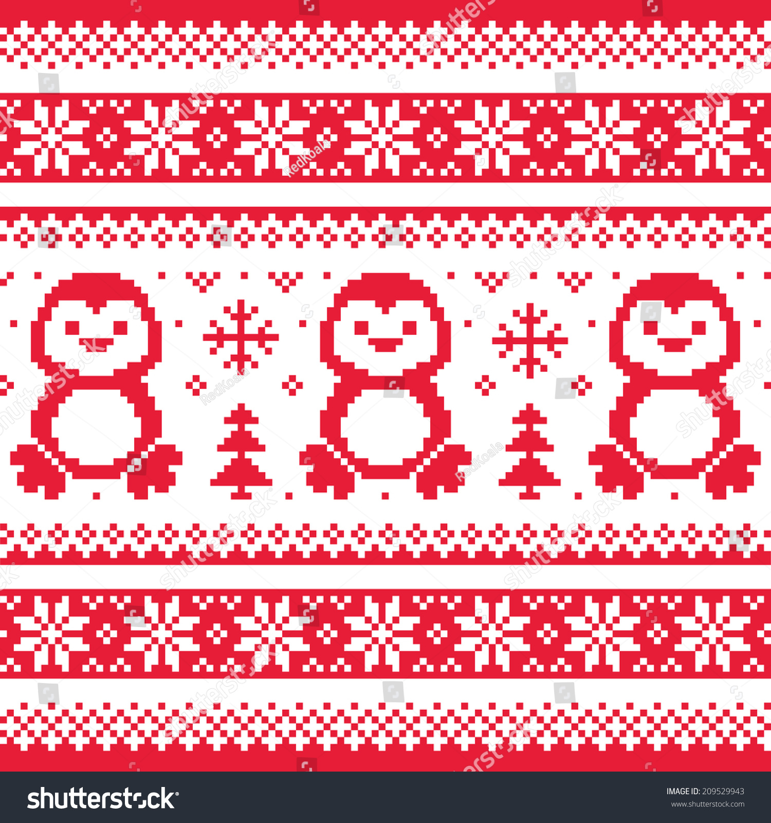 Christmas Winter Knitted Pattern Penguins Scandinavian Stock Vector ...