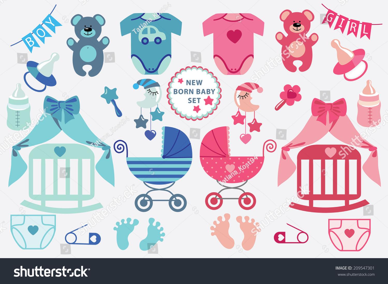 Set Cute Cartoon Cliparts Newborn Baby Stock Vector 209547301 ...