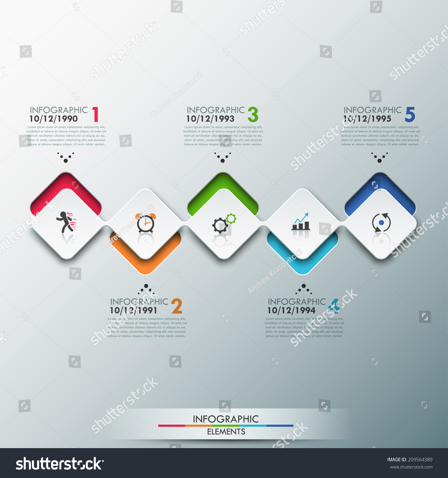 Modern Infographics Process Template Paper Sheets Stock Vector ...