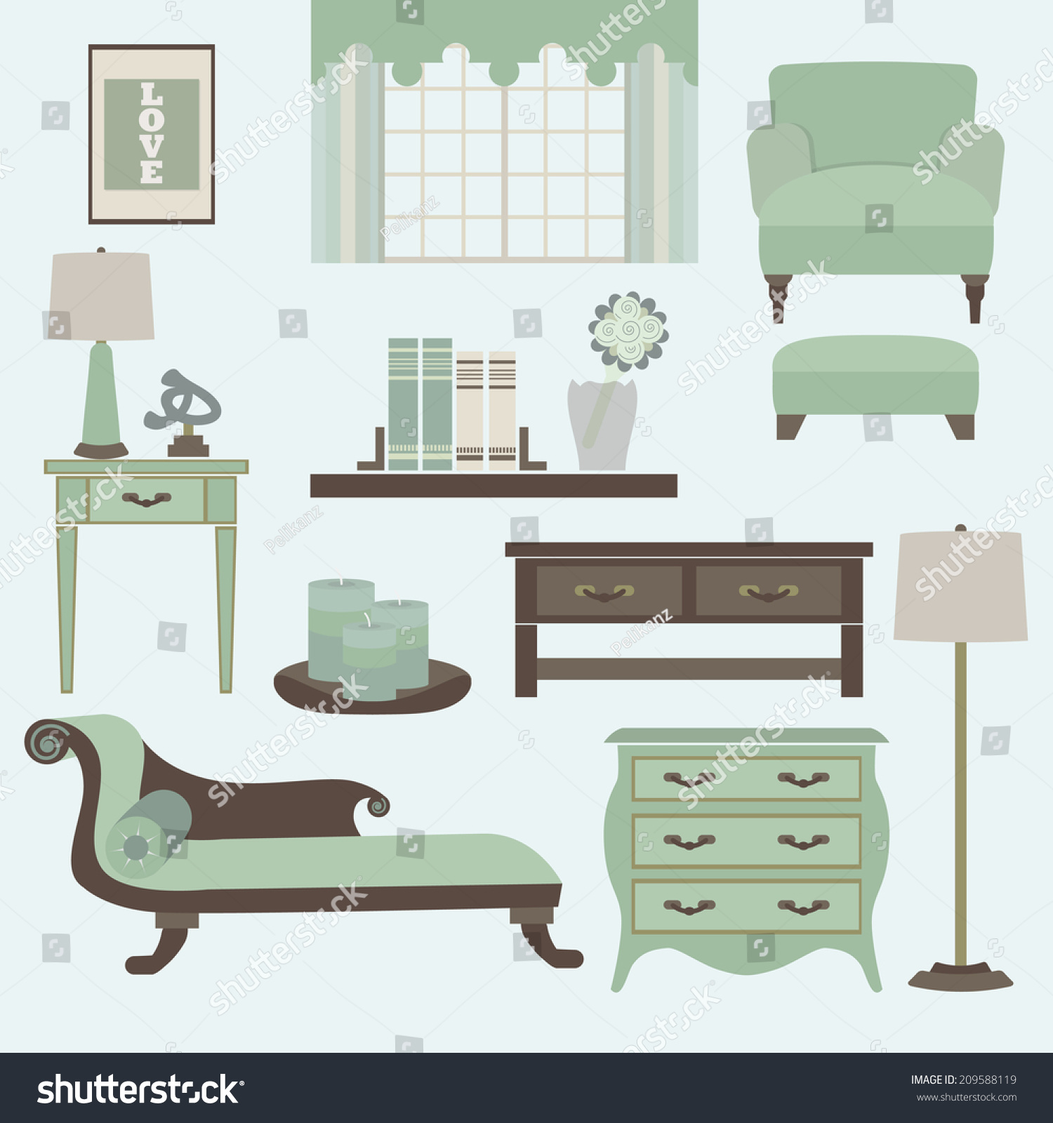 Living Room Furniture And Accessories In Color Teal  Arm Chair, Fainting  Couch, Coffee Part 33