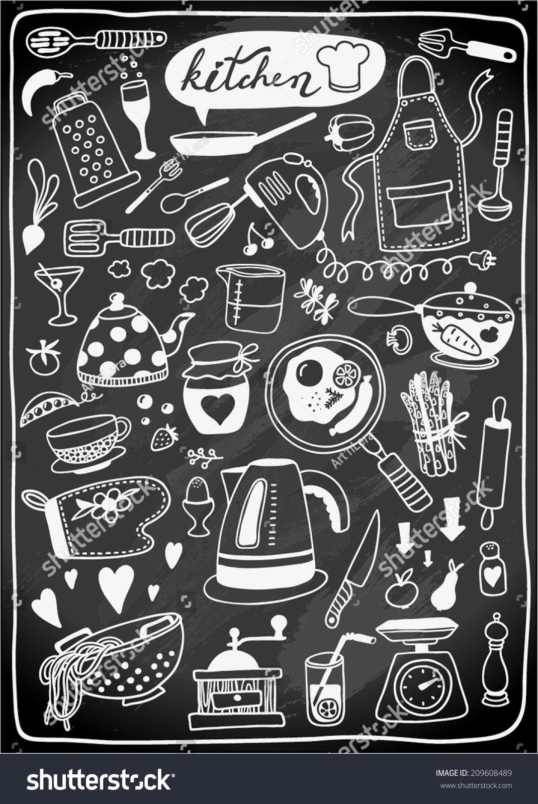 Chalkboard Kitchen Handdrawn Doodle Kitchen Utensils On Chalkboard Stock Vector