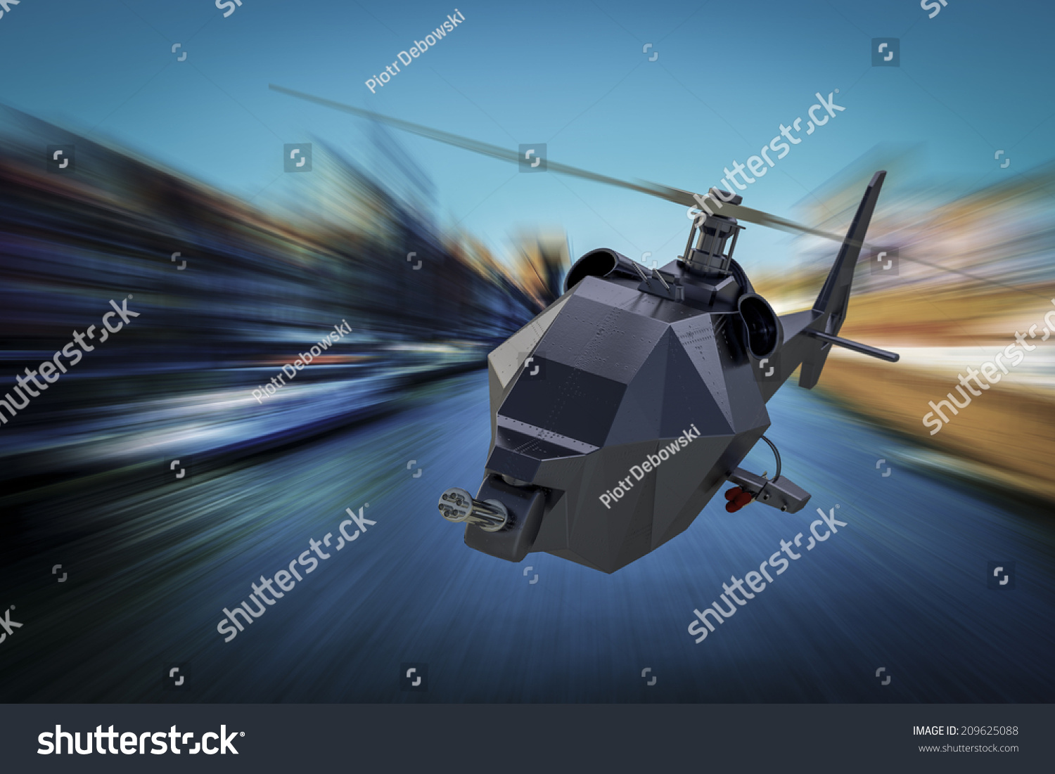 Military Drone Helicopter Uav Flight Stock Illustration 209625088