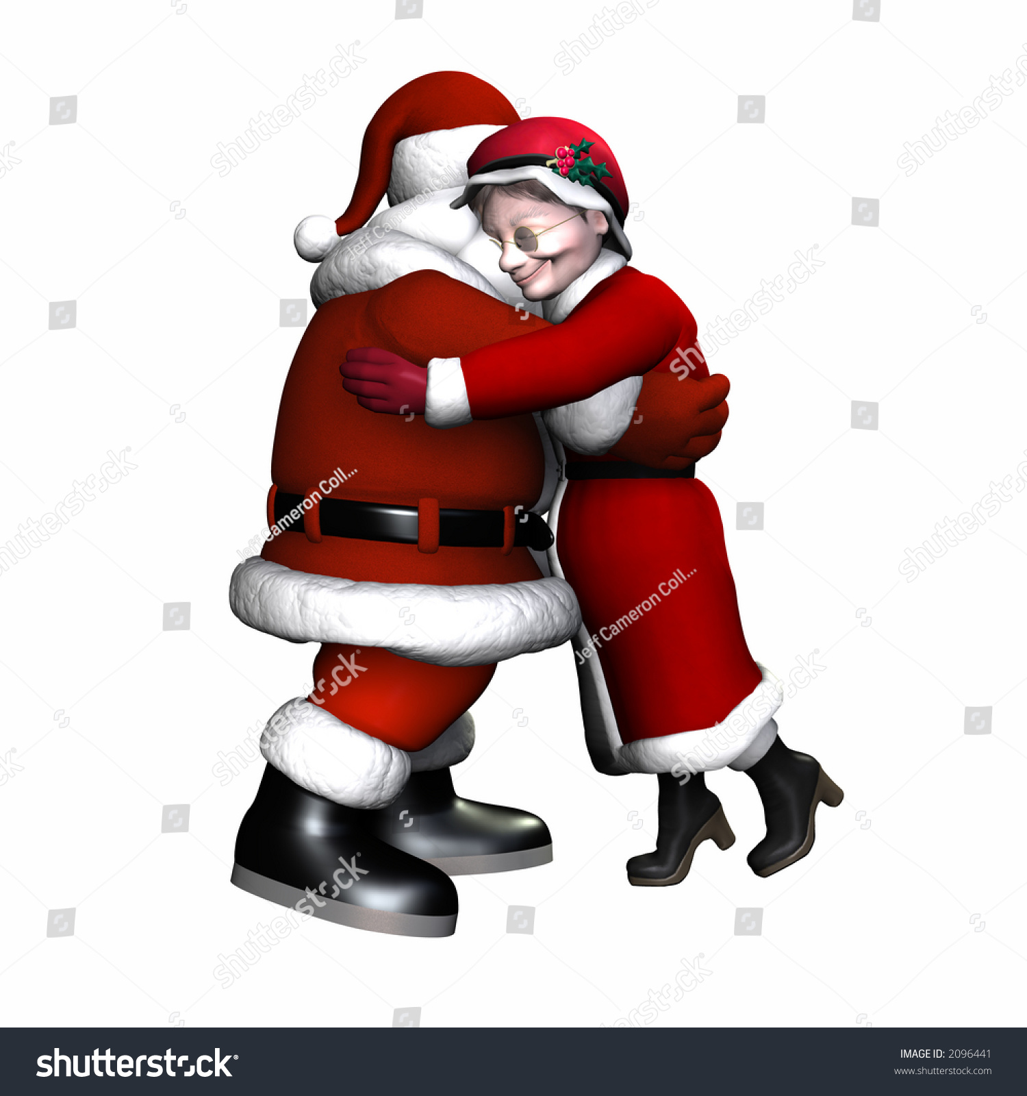 Mr Mrs Claus Hugging Isolated On Stock Illustration 2096441 ...