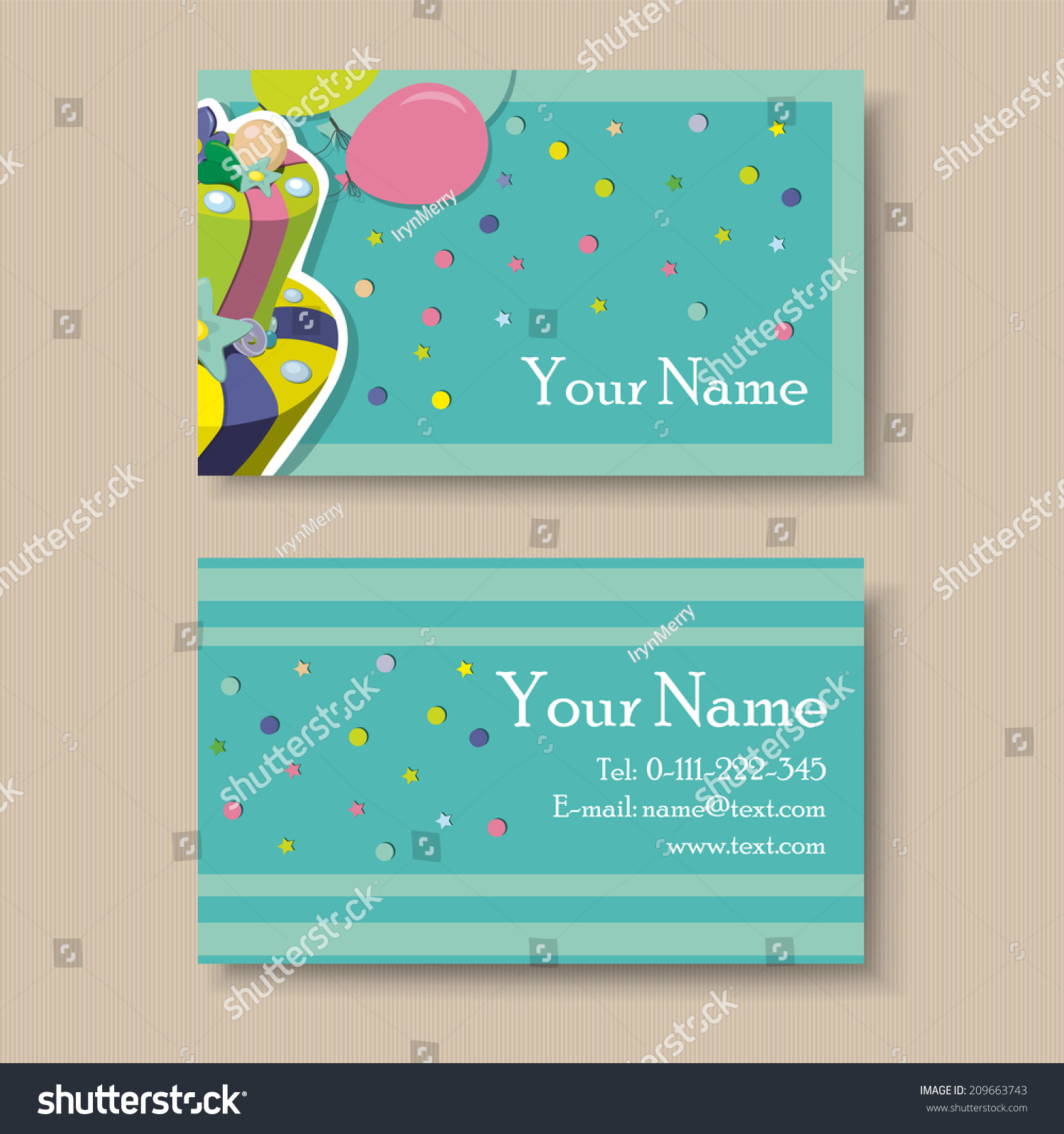 Business Visiting Card Birthday Cake Stock Vector Royalty Free