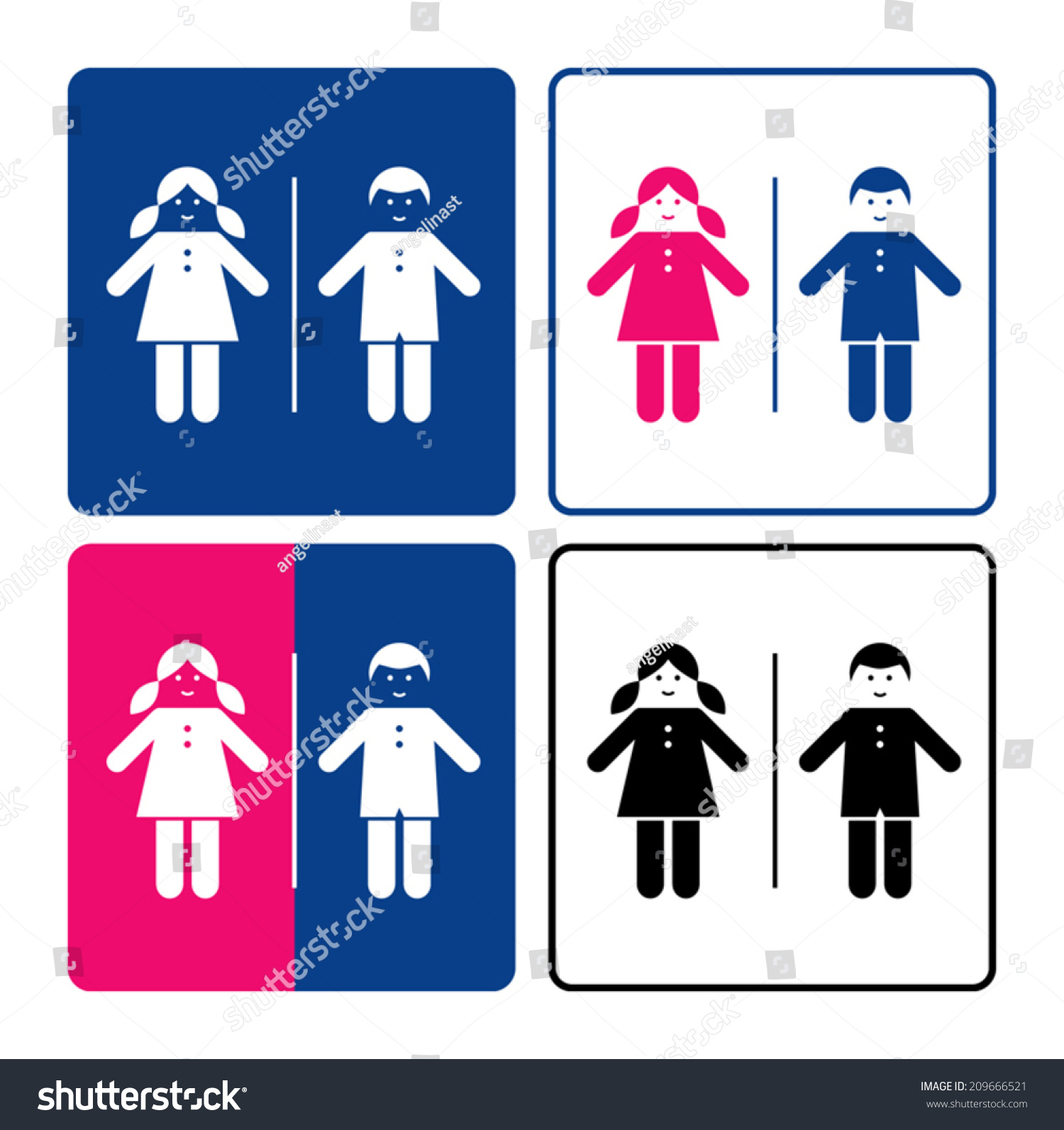 Kids Restroom Sign Stock Vector 209666521
