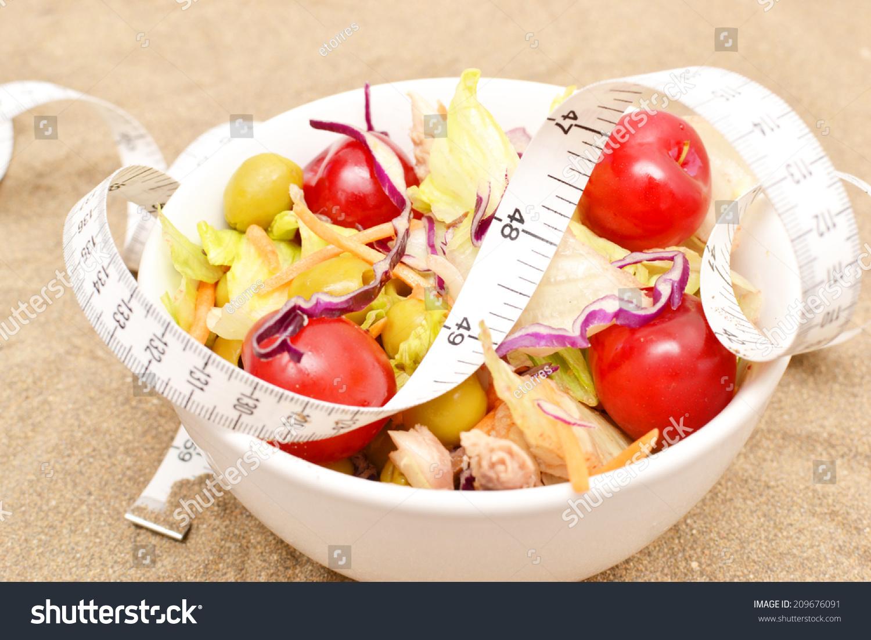 Stock Photo Salad Tape Measure Sand