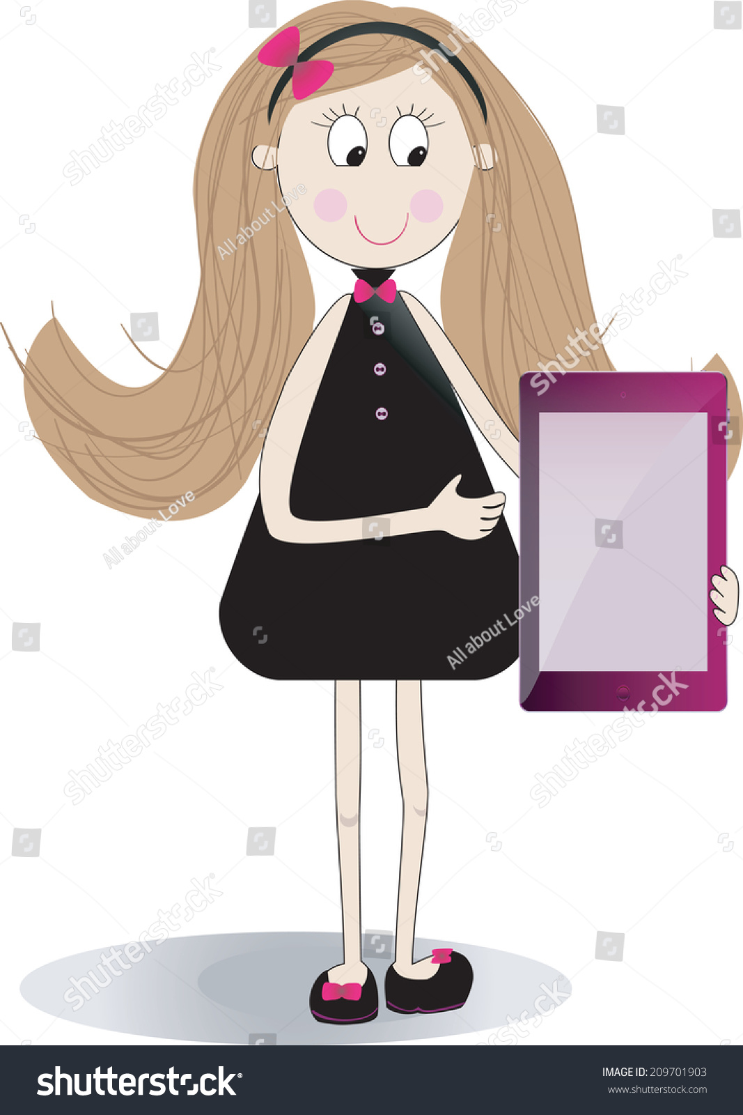 Cute Girl Using Touchpad Tablet Portable Stock Vector (Royalty