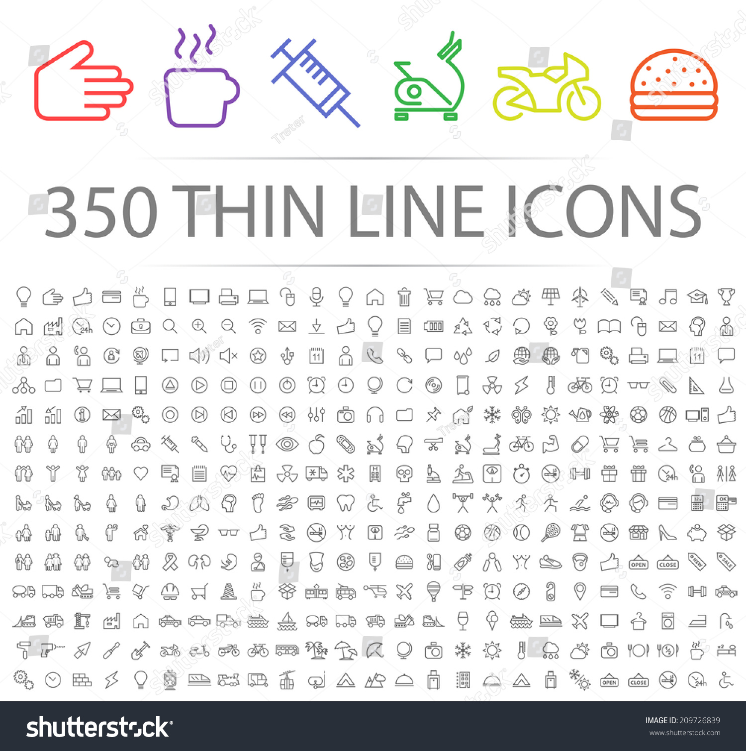 Set of 350 Minimal Modern Thin Stroke Black Icons (Multimedia, Business, Ecology, Education, Family, Medical, Fitness, Shopping, Construction, Travel, Hotel ) on White Background. #209726839