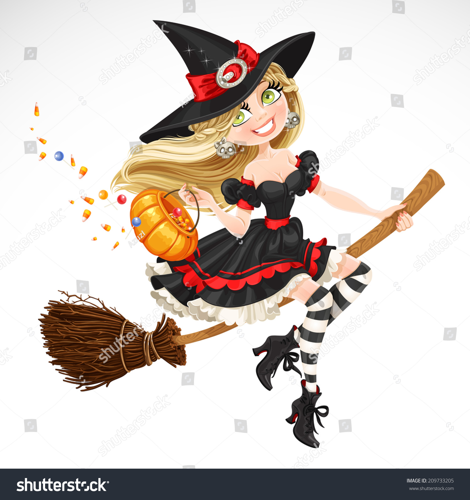 Beautiful Witch With Candy In Pumpkin Flying On A