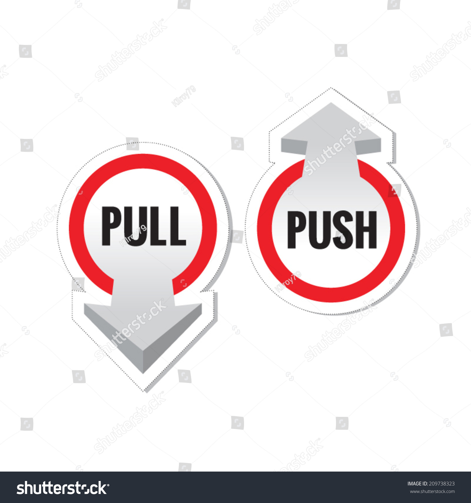 Pull Over Sign : Pull push door signs stickers set stock vector