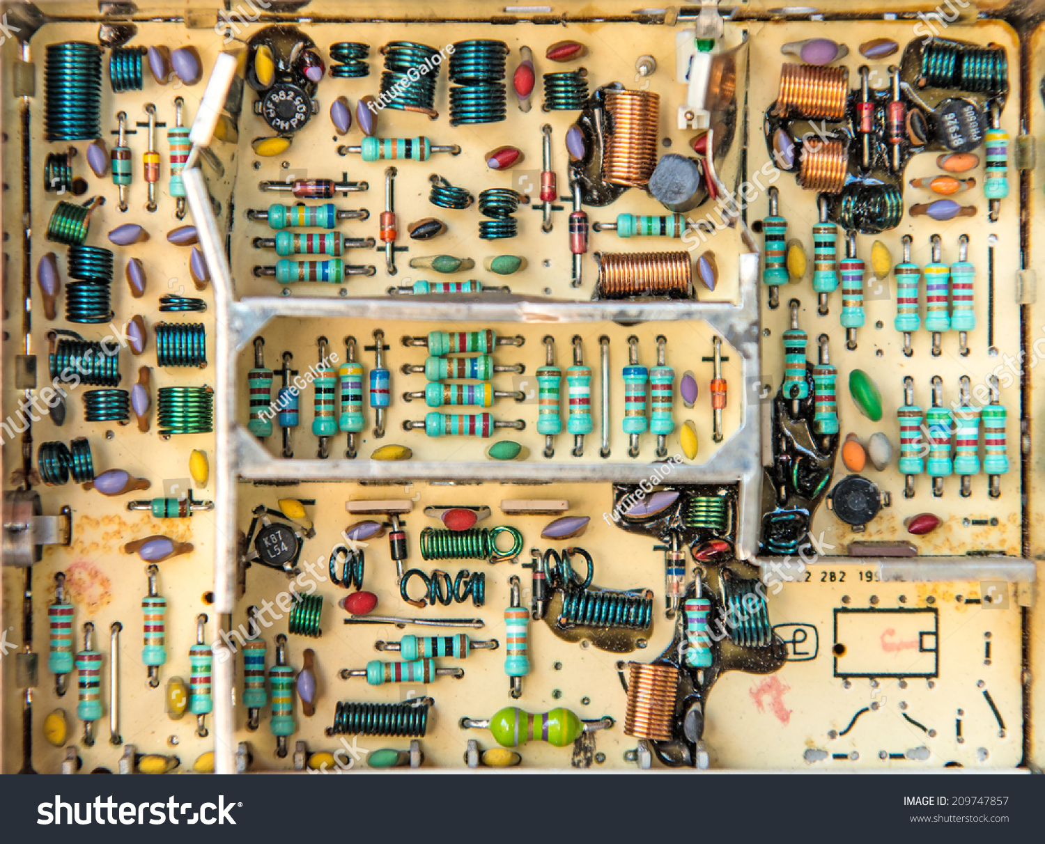Royalty Free Old Transistor Board 209747857 Stock Photo Printed Circuit Throughhole Technology