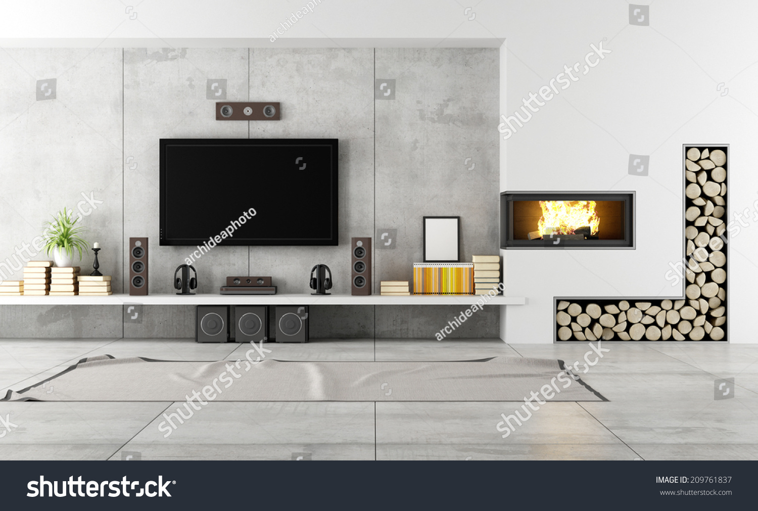 For Living Rooms With Fireplaces Modern Living Room Tv Fireplace Rendering Stock Illustration