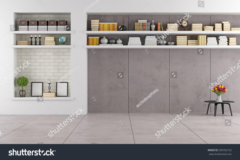 Modern Interieur Wit : Modern living room wit niche shelves stock illustration royalty