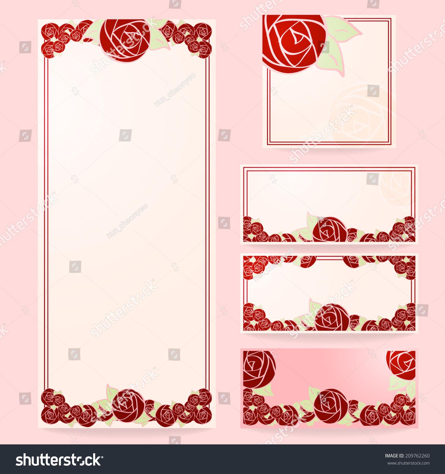 Set Floral Wedding Cards Invitations Wedding Stock Vector ...