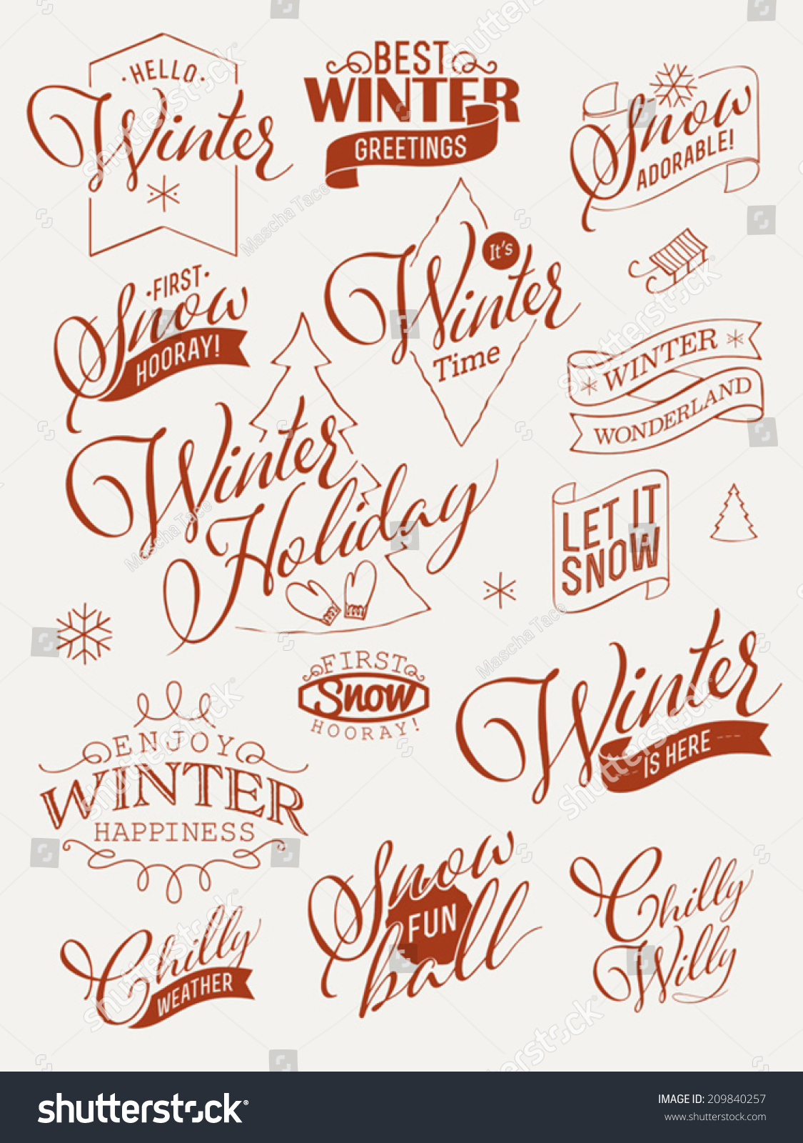 Vector collection retro styled winter design stock vector vector collection of retro styled winter design elements featuring phrases about snow cold weather kristyandbryce Gallery