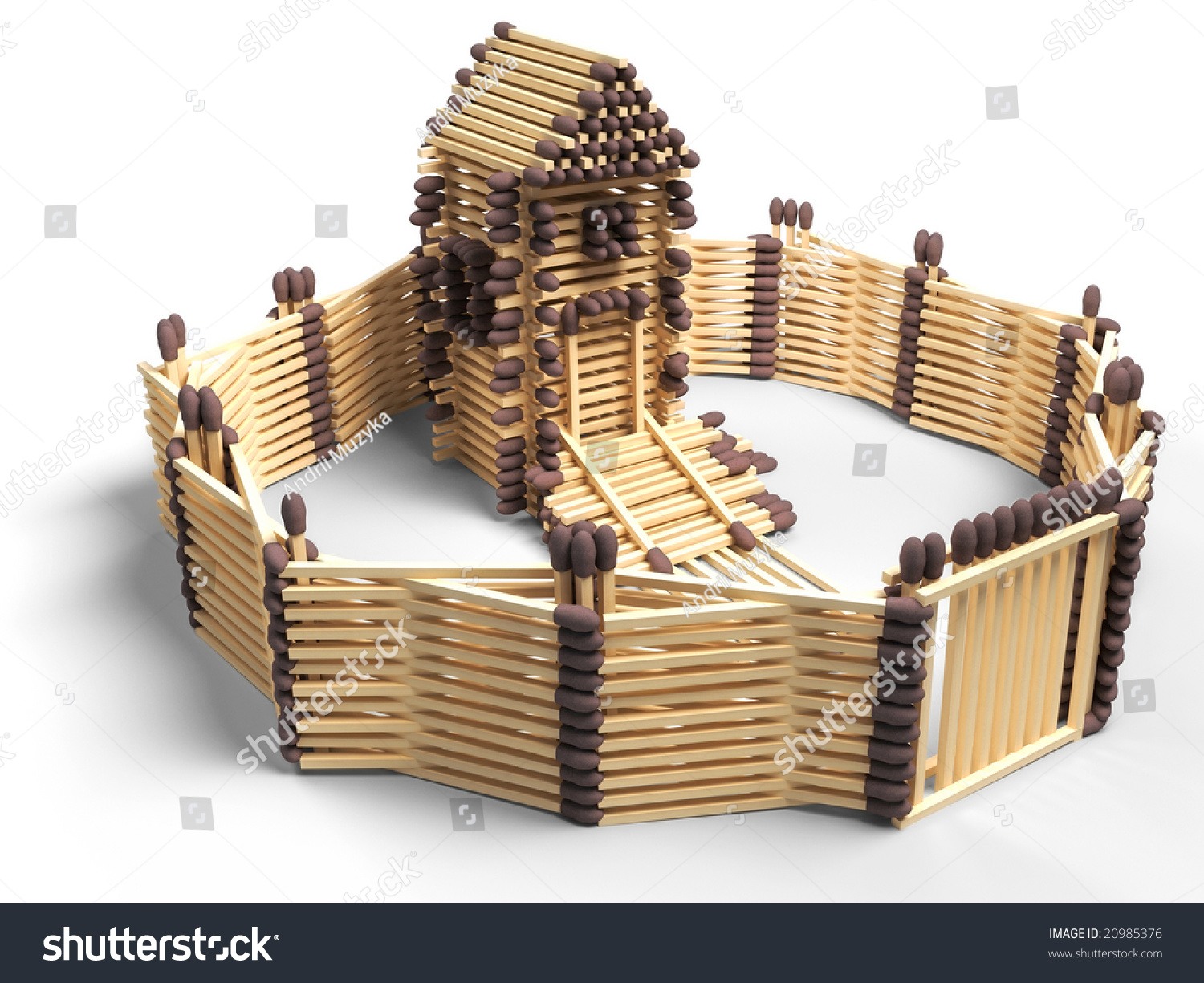 Match House, House Built Of Matches Stock Photo 20985376