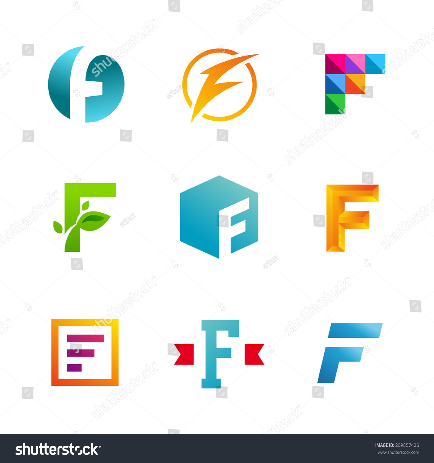 Set Letter F Logo Icons Design Stock Vector 209857426