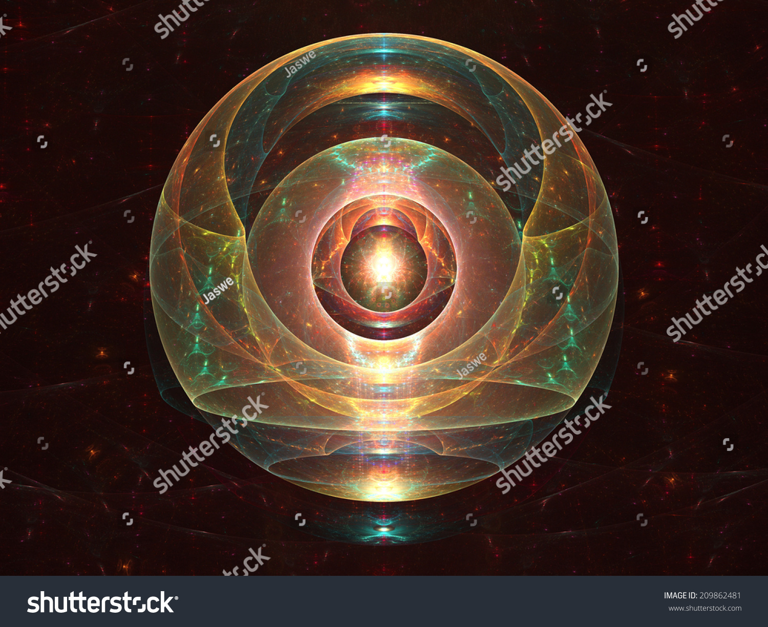 Cosmic Fantasy Fractal Blacklight: Abstract Fractal Orb Composed Layers Colorful Stock