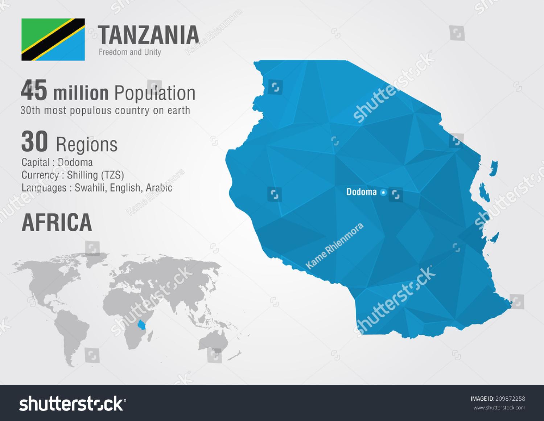 Tanzania World Map Pixel Diamond Texture Stock Vector 2018