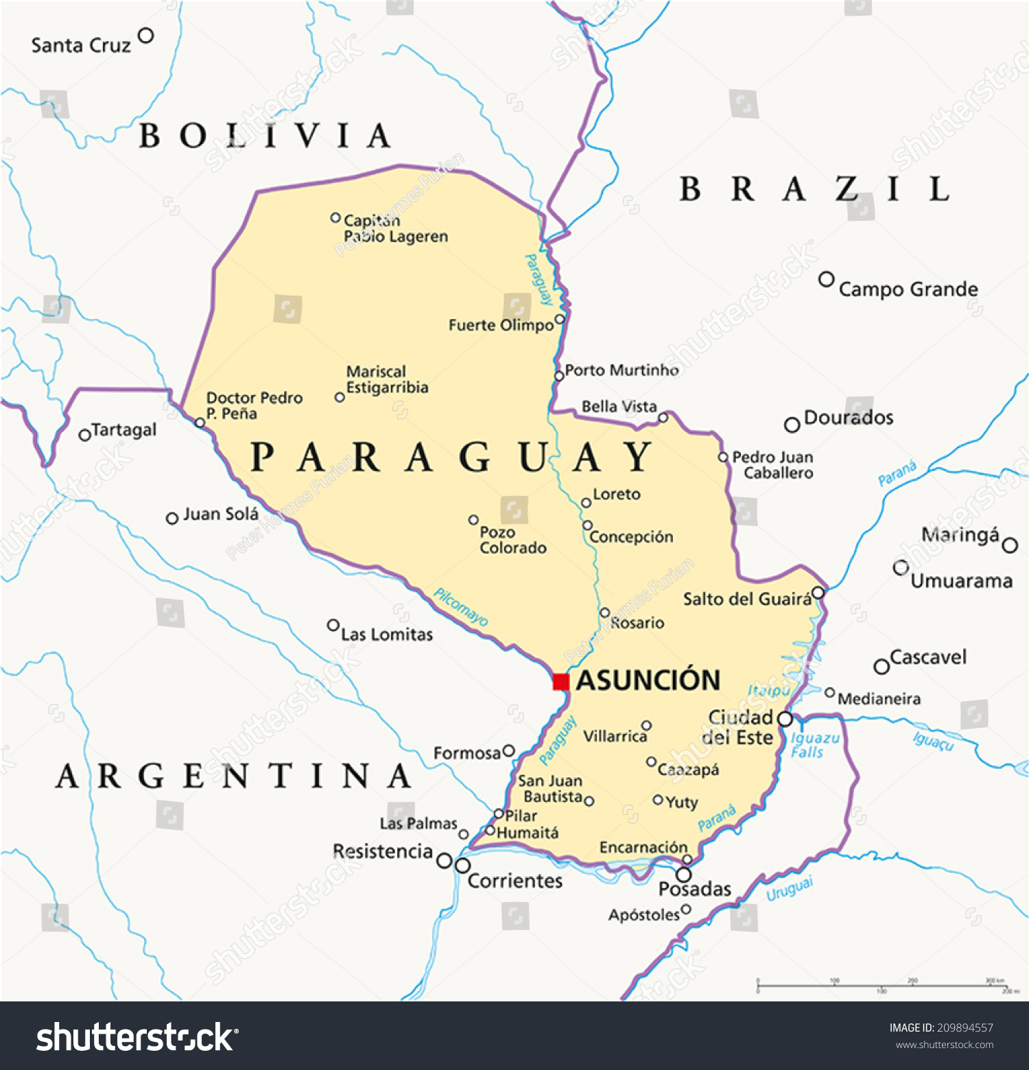 Paraguay Political Map Capital Asuncion National Stock Vector HD