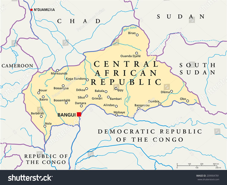 Central African Republic Political Map Capital Stock Vector