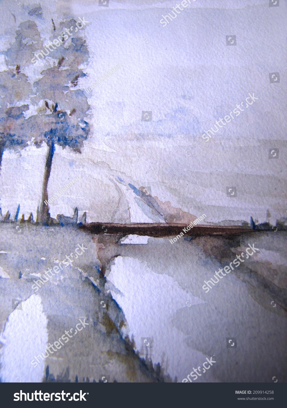 Aquarelle Abstract Watercolor Dutch Landscape Detail Stock Illustration 209914258