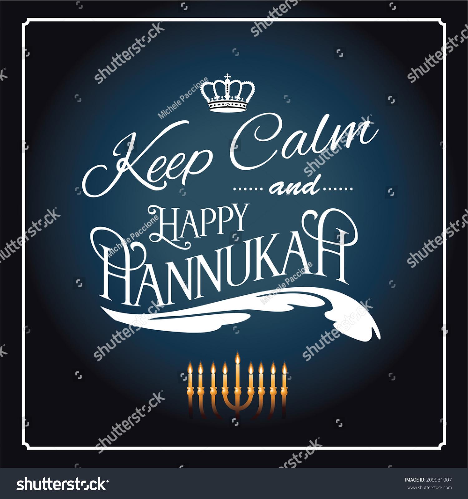 Keep Calm Happy Hanukkah Design Eps Stock Vector 209931007