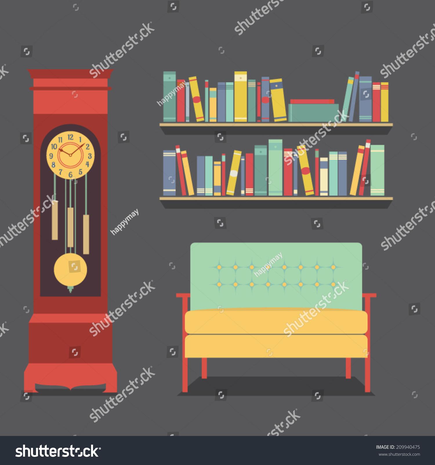 Living room interior design vector illustration stock for Apartment design vector