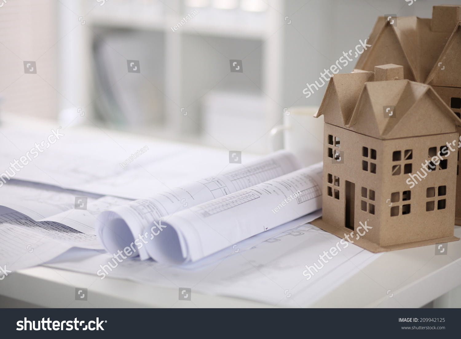 Outstanding Image Of New Model House On Architecture Blueprint Plan At Desk Largest Home Design Picture Inspirations Pitcheantrous