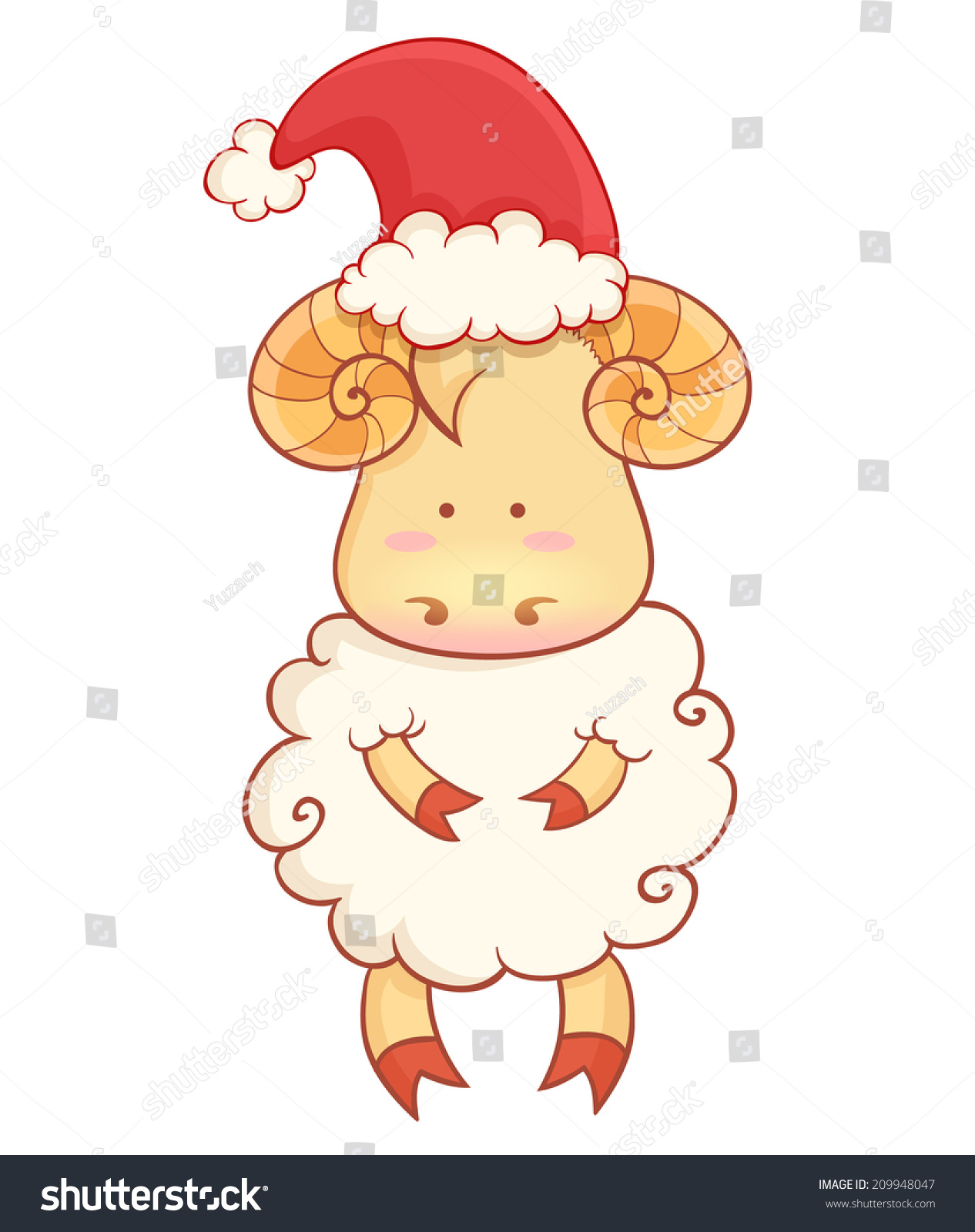 cute cartoon baby sheep wearing santa hat character of chinese new year symbol isolated on white